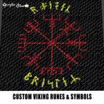 Custom Viking Symbols and Runes Typography Tri-Color Black Background Design crochet graphgan blanket pattern; graphgan pattern, c2c; single crochet; cross stitch; graph; pdf download; instant download
