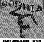 Custom Gymnast Silhouette Handstand Gymnastic Stance Art Personalized with Name crochet graphgan blanket pattern; graphgan pattern, c2c; single crochet; cross stitch; graph; pdf download; instant download