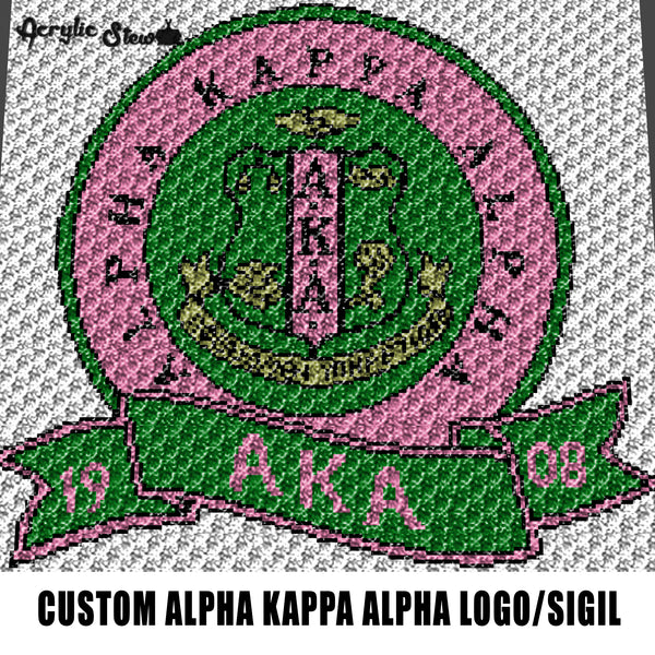 Custom Alpha Kappa Alpha AKA Sorority Logo & Sigil Seal crochet graphgan blanket pattern; graphgan pattern, c2c; single crochet; cross stitch; graph; pdf download; instant download