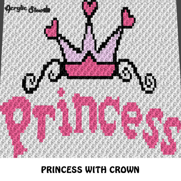 Pink Princess Typography With Heart Crown Baby Girl crochet graphgan blanket pattern; graphgan pattern, c2c, single crochet; cross stitch; graph; pdf download; instant download