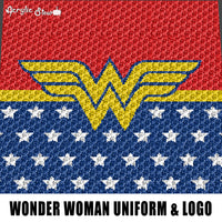 Wonder Woman Uniform and Logo DC Comics Symbol crochet graphgan blanket pattern; graphgan pattern, c2c, single crochet; cross stitch; graph; pdf download; instant download