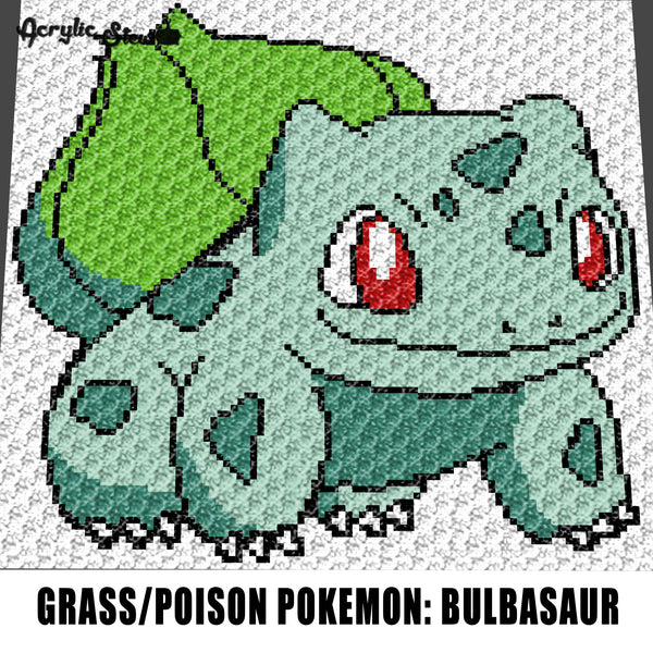 Bulbasaur Grass Poison Pokemon Television Cartoon Pokemon Go Collector Card Art crochet graphgan blanket pattern; c2c; single crochet; cross stitch; graph; pdf download; instant download