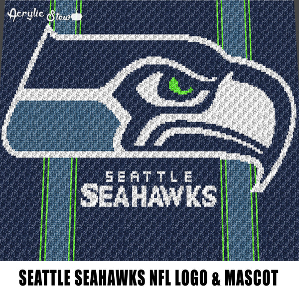 Seattle Seahawks Washington NFL Football Team Logo and Mascot Design crochet graphgan blanket pattern; graphgan pattern, c2c; single crochet; cross stitch; graph; pdf download; instant download