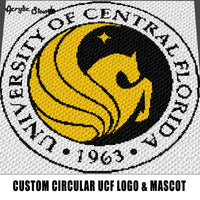 Custom University of Central Florida UCF Round Logo & Mascot Pegasus College crochet graphgan blanket pattern; graphgan pattern, c2c; single crochet; cross stitch; graph; pdf download; instant download