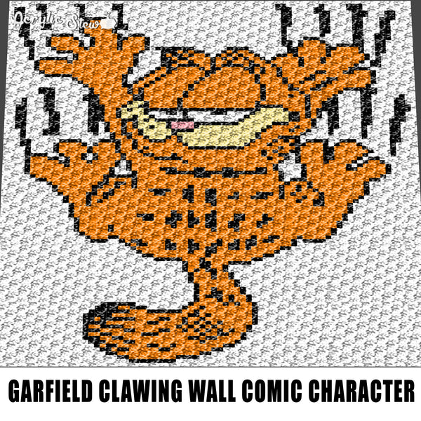 Garfield Clawing the Wall Nickelodeon Cartoon Movie Character crochet graphgan blanket pattern; graphgan pattern, c2c, single crochet; cross stitch; graph; pdf download; instant download