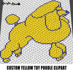 Custom Yellow Toy Poodle Bi-Color Clipart Image crochet graphgan blanket pattern; graphgan pattern, c2c; single crochet; cross stitch; graph; pdf download; instant download