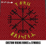 Custom Viking Symbols and Runes Typography Tri-Color Red Background Design crochet graphgan blanket pattern; graphgan pattern, c2c; single crochet; cross stitch; graph; pdf download; instant download