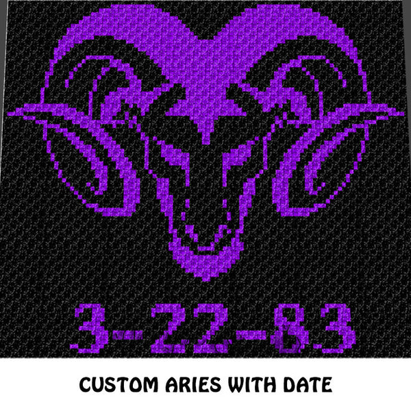 Custom Aries Zodiac Ram Sign with Personal Date crochet blanket pattern; c2c, cross stitch graph; instant download