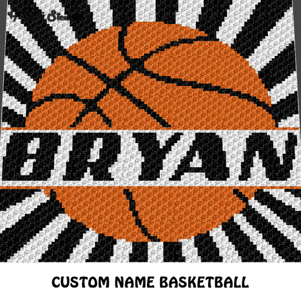 Custom Personalized Name Basketball crochet graphgan blanket pattern; graphgan pattern, c2c, cross stitch graph; pdf