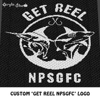 Custom Get Reel Logo Decal with Custom Letters crochet blanket pattern; c2c, cross stitch graph; instant download