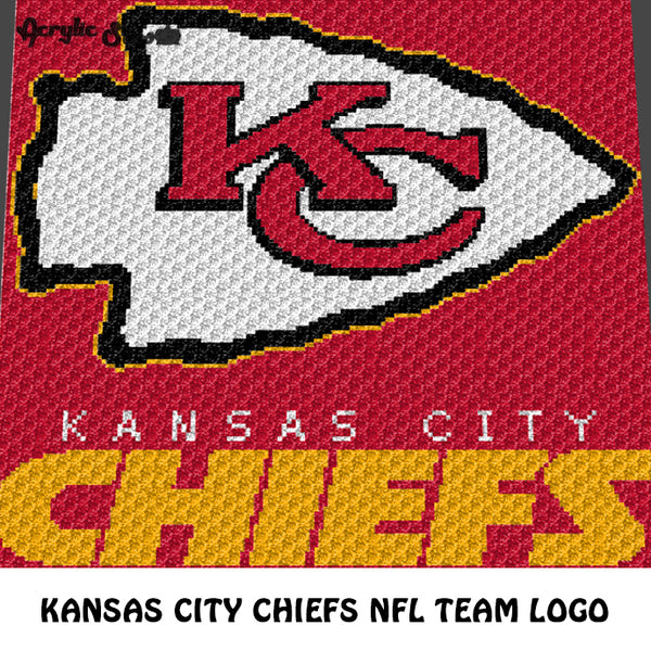 Kansas City Chiefs NFL Football Team Logo crochet graphgan blanket pattern; c2c, cross stitch graph; pdf download; instant download