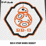 BB-8 Star Wars Astromech Droid Character crochet graphgan blanket pattern; c2c, cross stitch graph; pdf download; instant download