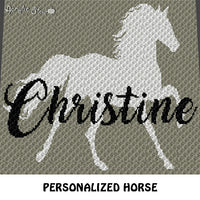 Custom Personalized Full Horse Art with Name crochet blanket pattern; c2c, cross stitch graph; instant download