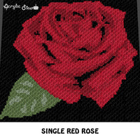 Blooming Rose Floral Nature Single Flower crochet blanket pattern; c2c, cross stitch graph; instant download