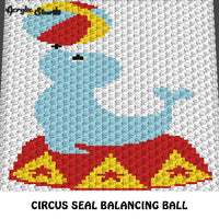 Circus Seal With Circus Ball Primary Color crochet graphgan blanket pattern; c2c, cross stitch graph; pdf download; instant download