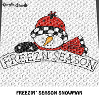 It's Freezin' Season Snowman In Winter Hat Themed Quote Typography crochet graphgan blanket pattern; c2c, cross stitch; graph; pdf download; instant download