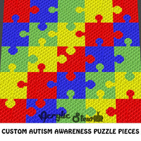 Custom Order Autism Awareness Puzzle Pieces Crochet Blanket Pattern C2c Cross Stitch Graph