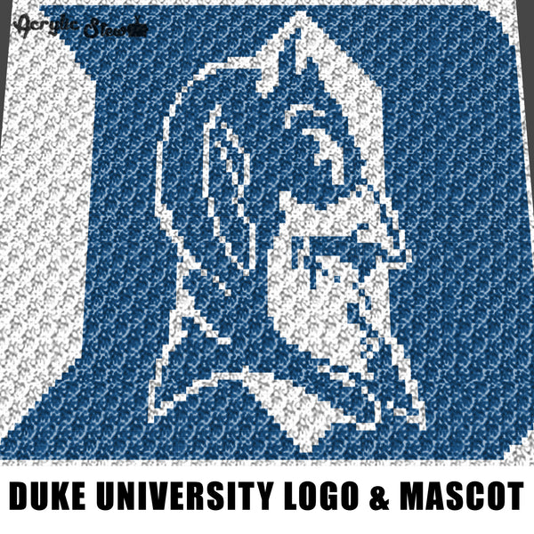 Duke University Letter D and Mascot Face Durham North Carolina College Logo crochet graphgan blanket pattern; c2c; cross stitch; graph; pdf download; instant download