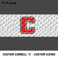 Custom Cornell 'C' Letter Logo With Custom Sizing crochet graphgan blanket pattern; c2c, cross stitch graph; pdf download; instant download