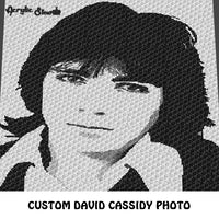 Custom David Cassidy Partridge Family Celebrity Black and White Photo crochet graphgan blanket pattern; c2c, cross stitch graph; instant download