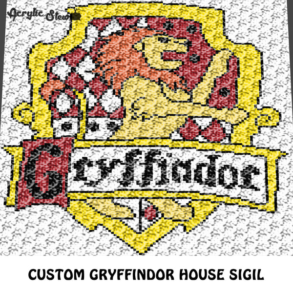 Custom Gryffindor House Sigil Harry Potter Logo crochet graphgan blanket pattern; c2c, cross stitch graph; pdf download; instant download