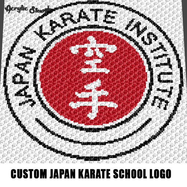 Custom Japan Karate Institute School Logo crochet graphgan blanket pattern; c2c, cross stitch graph; pdf download; instant download