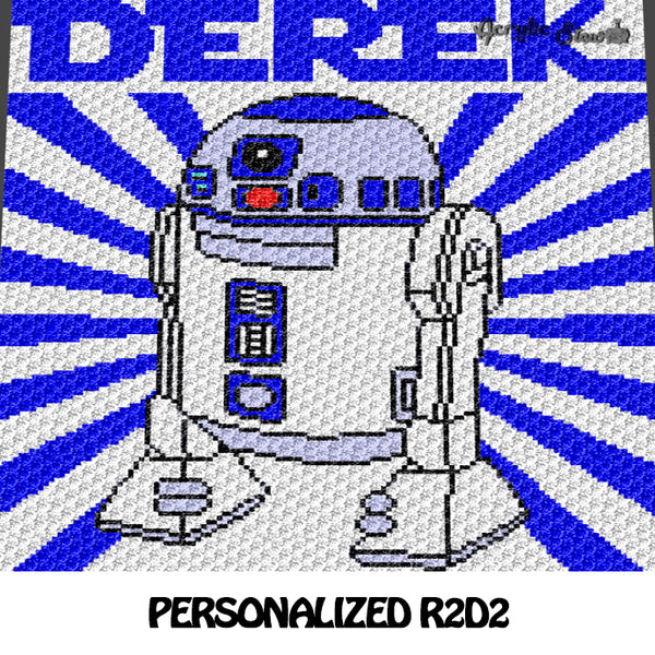 Custom Personalized R2D2 Star Wars crochet blanket pattern; c2c, cross stitch graph; pdf