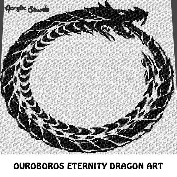 Ouroboros Eternity Tattoo Dragon Art C2C crochet graphgan blanket pattern; afghan; graphgan pattern, cross stitch graph; pdf download; instant download
