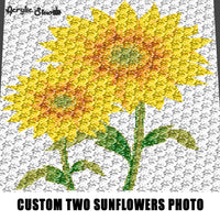 Custom Two Sunflowers Photo crochet graphgan blanket pattern; c2c, cross stitch graph; pdf download; instant download
