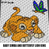 Baby Simba Playing With A Butterfly Disney Lion King Movie Cartoon Character crochet graphgan blanket pattern; c2c; single crochet; cross stitch; graph; pdf download; instant download