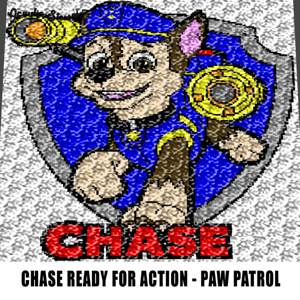 Chase In Action Paw Patrol TV Show Cartoon Character crochet graphgan blanket pattern; c2c; single crochet; cross stitch; graph; pdf download; instant download