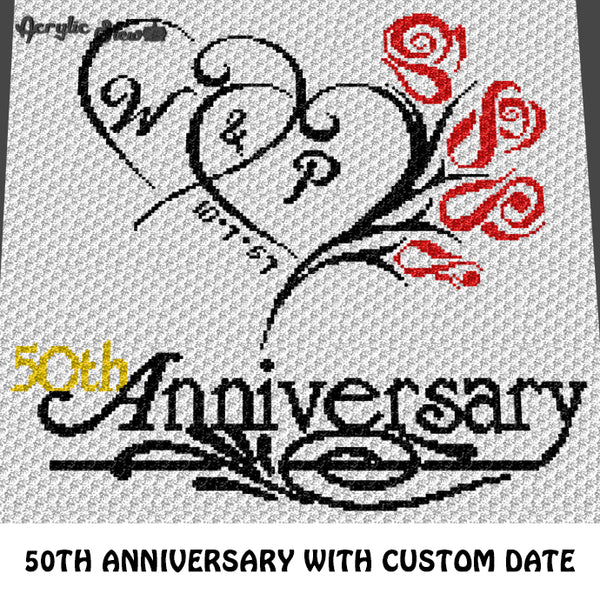 Custom Personalized 50th Wedding Anniversary Roses Design with Initials and Custom Date crochet graphgan blanket pattern; c2c, cross stitch graph; pdf download; instant download