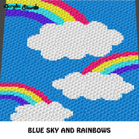 Blue Sky and Three Rainbows Primary Color crochet graphgan blanket pattern; c2c, cross stitch graph; instant download