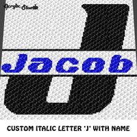Custom Personalized Letter 'J' and Custom Name crochet gragphan blanket pattern; graphgan pattern, c2c, cross stitch graph; pdf