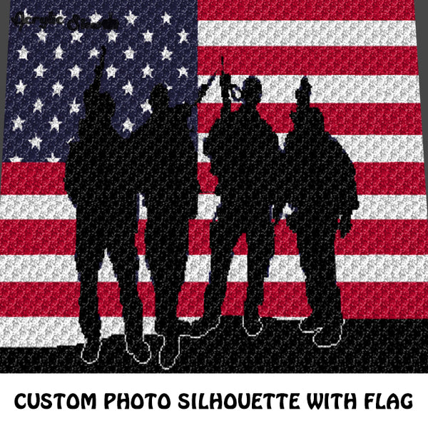 Custom Military Servicemen Photo Silhouette with color American Flag Background crochet graphgan blanket pattern; c2c, cross stitch graph; instant download