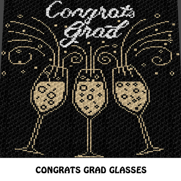 Congrats Grad Champagne Typography Graduate Senior crochet blanket pattern; c2c, cross stitch graph; pdf download; instant download