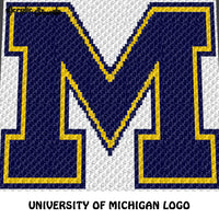 University of Michigan Wolverines Letter Logo M crochet graphgan blanket pattern; c2c, cross stitch graph; pdf download; instant download