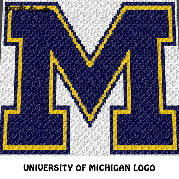 University of Michigan Wolverines Logo Letter M crochet graphgan blanket pattern; graphgan pattern, c2c; single crochet; cross stitch; graph; pdf download; instant download