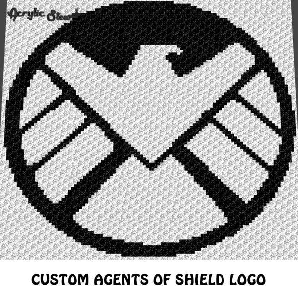 Custom Marvel Agents of Shield Logo Symbol crochet graphgan blanket pattern; c2c, cross stitch graph; pdf download; instant download