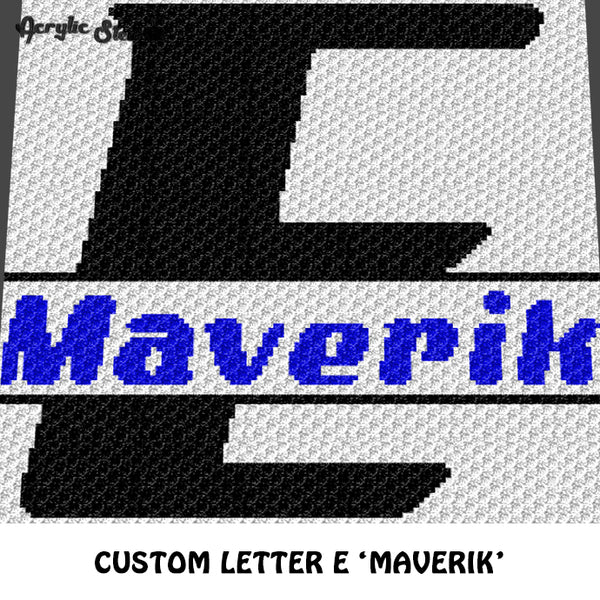 Custom Personalized Letter E and Name Maverik crochet gragphan blanket pattern; graphgan pattern, c2c, cross stitch graph; pdf download; instant download