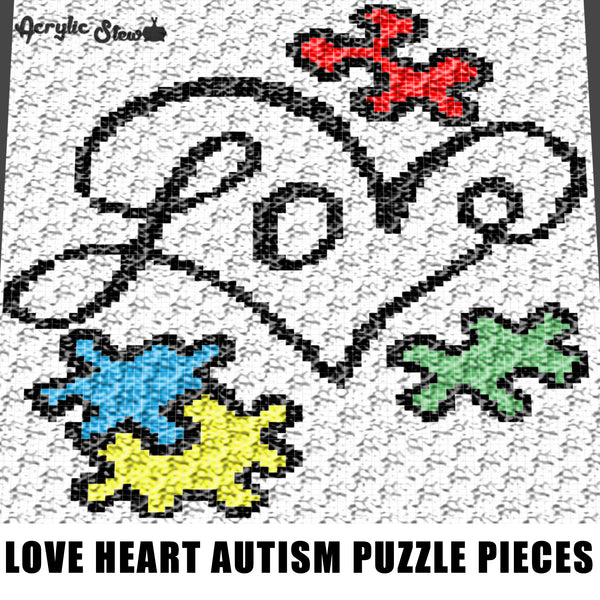 Love Heart Typography Autism Awareness Puzzle Pieces crochet graphgan blanket pattern; c2c, cross stitch; graph; pdf download; instant download