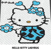 Hello Kitty Kawaii Ladybug Flowers Hearts crochet graphgan blanket pattern; c2c, knitting, cross stitch graph; pdf download; instant download