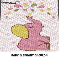 Baby Pink Elephant Blowing Water Pastel Colors Chevron crochet graphgan blanket pattern; c2c, cross stitch graph; pdf download; instant download