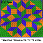 Tri-Color Trimmed Blue Green Orange Carpenter Wheel Geometric Shape Copycat Quilt Design crochet graphgan blanket pattern; c2c; single crochet; cross stitch; graph; pdf download; instant download