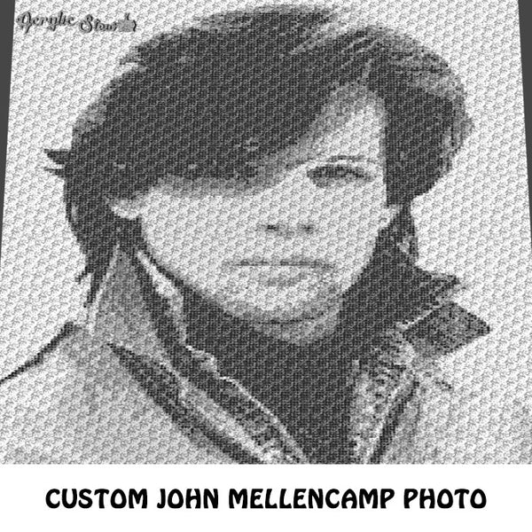 Custom Order John Cougar Mellencamp Photograph crochet blanket pattern; c2c, knitting, cross stitch graph; pdf download; instant download