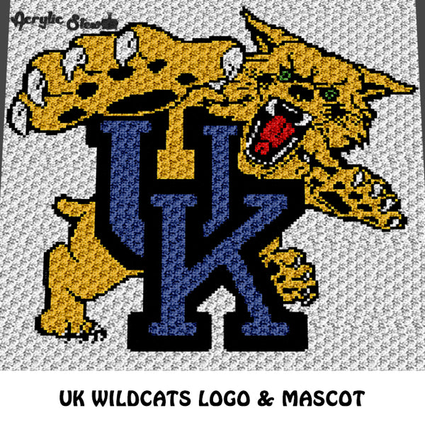 University of Kentucky UK Wildcats College Logo crochet graphgan blanket pattern; c2c, cross stitch graph; instant download