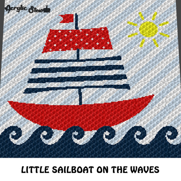 Sailboat On the Waves Nautical Themed Baby and Kids crochet graphgan blanket pattern; c2c, cross stitch graph; pdf download; instant download