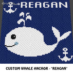 Custom Whale Anchor Nautical crochet blanket pattern; c2c, cross stitch graph; pdf