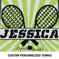 Custom Personalized Name Tennis Rackets crochet graphgan blanket pattern; graphgan pattern, c2c, cross stitch graph; pdf