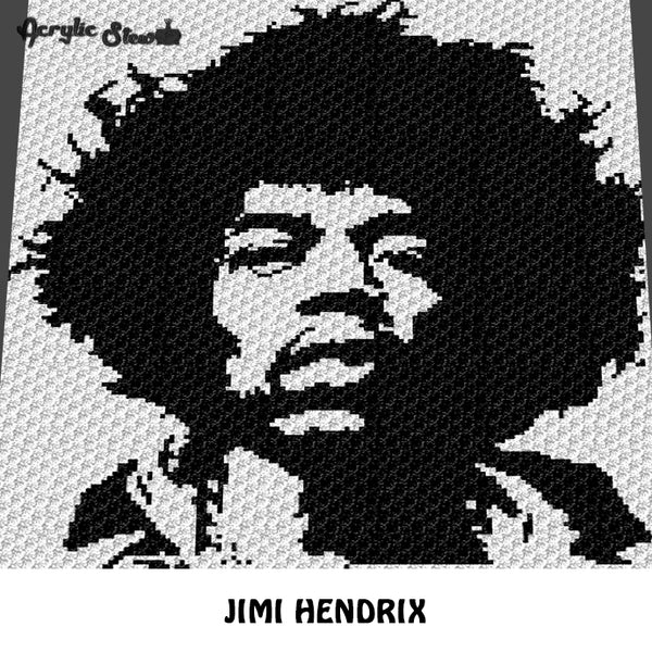 Jimi Hendrix Vintage Classic Rock N' Roll Musician Celebrity Photo Alpha Art C2C crochet graphgan blanket pattern; afghan; graphgan pattern, cross stitch graph; pdf download; instant download
